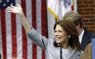 Rep. Michele Bachmann, R-Minn., waves to supporters before making her formal announcement to seek the 2012 Republican presidential nomination, Monday, June 27, 2011, in Waterloo, Iowa. (Photo: Charlie Neibergall/AP)