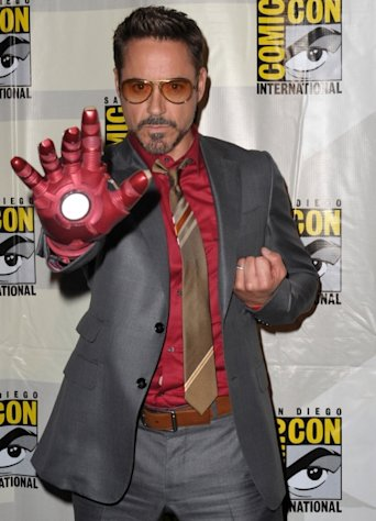 Robert Downey Jr. seen at Marvel Studios 'Iron Man 3' panel during Comic-Con International 2012 at San Diego Convention Center in San Diego on July 14, 2012 -- Getty Premium