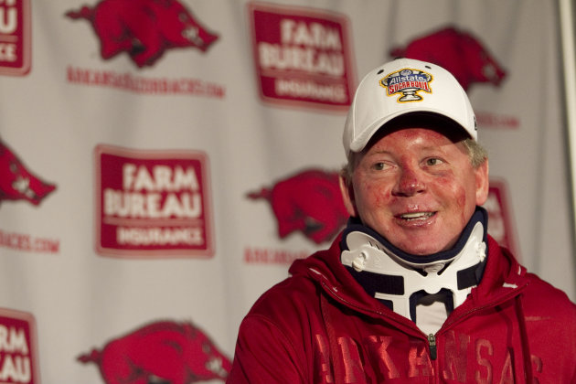 Arkansas football coach Bobby Petrino speaks during a news conference at a Fayetteville, Ark., on Tuesday, April 3, 2012, after being released from a hospital after he was injured in a motorcycle acci