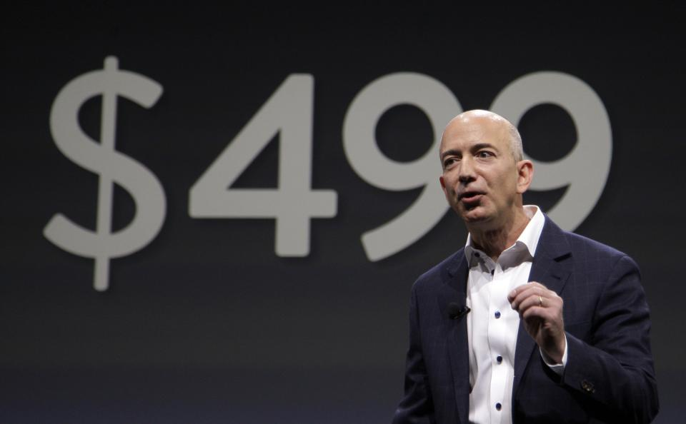 Jeff Bezos, CEO and founder of Amazon, talks about the $499 price point of the new Amazon Kindle Fire HD, compared to the competition's at nearly $1,000, in Santa Monica, Calif., Thursday, Sept. 6, 2012. (AP Photo/Reed Saxon)