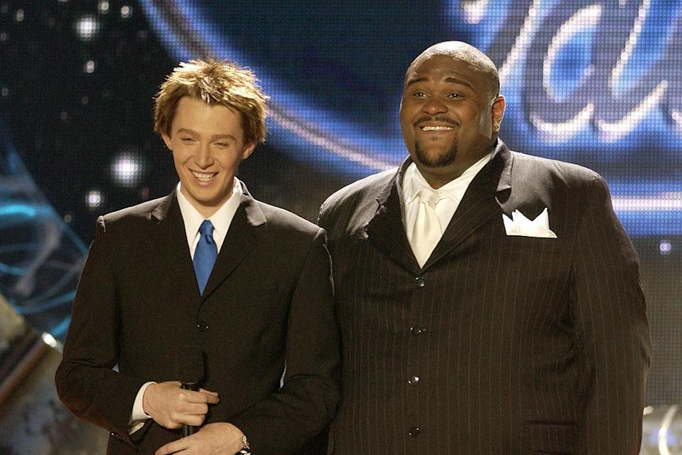 Clay Aiken and Ruben Studdard at the American Idol Season 2 Finale.