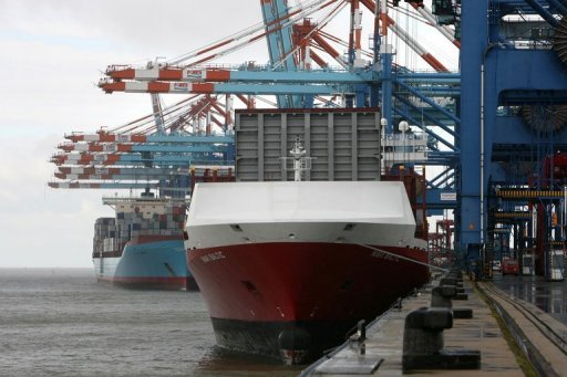 <p>A container ship is unloaded by cranes at the North port terminal in Bremerhaven, 2010. The eurozone's current account surplus grew to 8.8 billion euros ($11.5 billion) in August from 8.1 billion euros the previous month, European Central Bank data showed.</p>