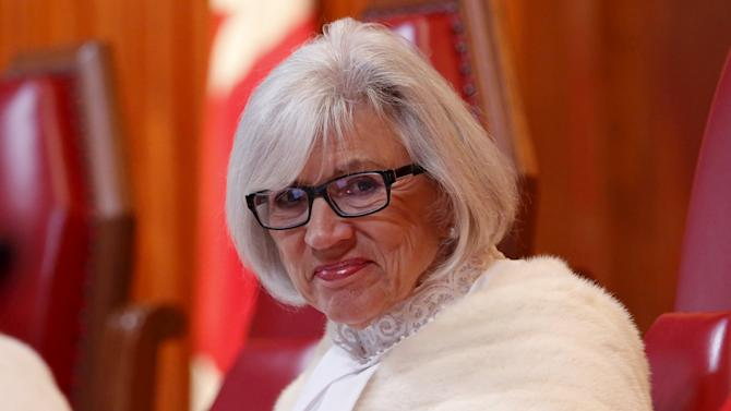 Canada's Supreme Court Chief Justice McLachlin takes part in a welcoming ceremony in Ottawa