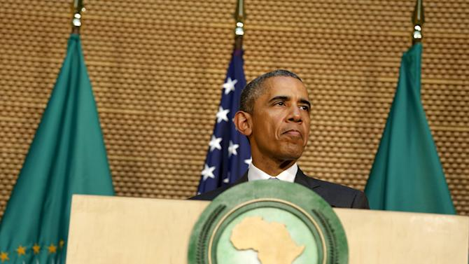 U.S. President Barack Obama delivers remarks at the African Union in Addis Ababa