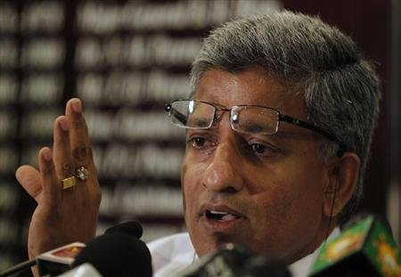 Sri Lanka Cricket Secretary Ranatunga speaks at a media conference in Colombo
