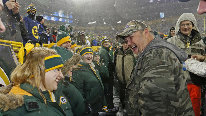IMAGE DISTRIBUTED FOR PRILOSEC OTC - Frequent heartburn sufferer and comedian Larry the Cable Guy jokes around with cheerleaders in Green Bay while promoting new Prilosec OTC Wildberry and encouraging fans to enter the Wild American Flavor Sweepstakes at www.wildberryflavor.com, on Sunday, Dec. 9, 2012 in Green Bay, Wis. (Photo by Matt Ludtke/Invision for Prilosec OTC/AP Images)