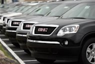 General Motors SUV's are displayed in an autosales lot in Troy