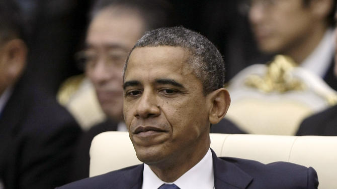 U.S. President Barack Obama attends the East Asia Summit at the Peace Palace in Phnom Penh, Cambodia Tuesday, Nov. 20, 2012. Obama is in Cambodia on the final leg of his three-country tour of Southeast Asia. (AP Photo/Heng Sinith)
