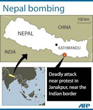 A graphic showing the location of Janakpur in Nepal, where a bomb attached to a motorcycle has exploded in a deadly attack
