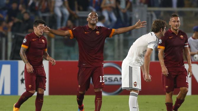 AS Roma's Maicon reacts after scoring against CSKA Moscow during their Champions League Group E soccer match at the Olympic Stadium in Rome