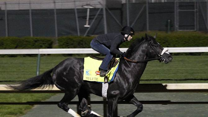 In this April 27, 2013 image provided by Churchill Downs, Kentucky Derby hopeful Mylute, under Rosie Napravnik, works out at Churchill Downs in Louisville, Ky. Napravnik tries to become the first female jockey to win the Kentucky Derby, a year after her ninth-place run here made her the highest female finisher. (AP Photo/Churchill Downs, Reed Palmer)