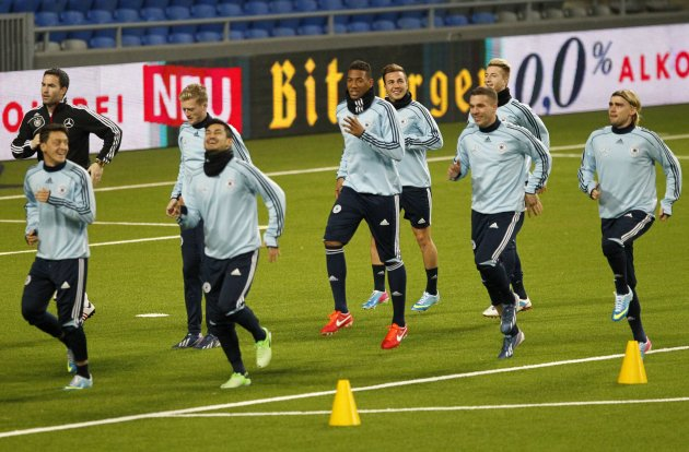 Germany's national soccer team players attend a training session ahead of their 2014 World Cup qualifying soccer match against Kazakhstan in Astana