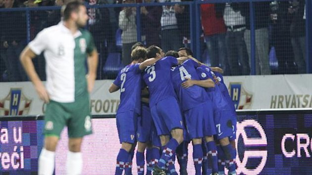 Croatia's players celebrates their goal against Wales during their 2014 World Cup qualifying match at Gradski Vrt in Osijek, eastern Croatia