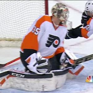 Streit stops Backstrom's shot on goal line