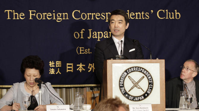 Osaka Mayor Toru Hashimoto speaks during a press conference at the Foreign Correspondents' Club of Japan in Tokyo Monday, May 27, 2013. The outspoken Japanese politician apologized Monday for saying U.S. troops should patronize adult entertainment businesses as a way to reduce rapes, but defended another controversial remark about Japan's use of sex slaves during World War II. (AP Photo/Shizuo Kambayashi)