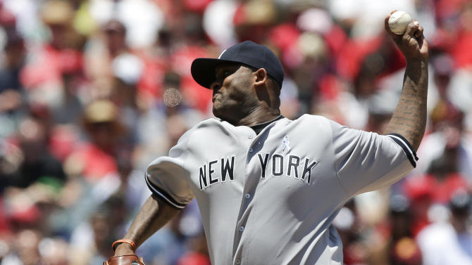 New York Yankees starting pitcher CC Sabathia throws to the Los Angeles Angels during the first inning of a baseball game in Anaheim, Calif., Sunday, June 16, 2013. (AP Photo/Chris Carlson)