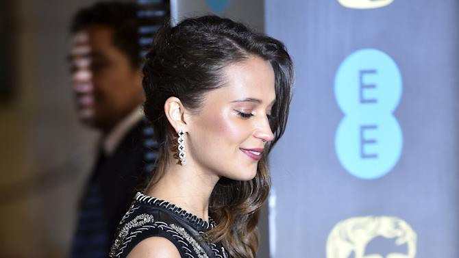 Alicia Vikander arrives at the British Academy of Film and Television Arts (BAFTA) Awards in London