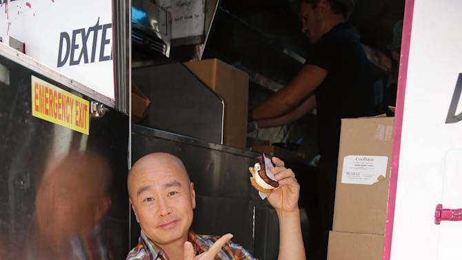 """CS Lee at the Showtime Dexter Coolhaus Ice Cream Truck, on Sunday, June, 23, 2013 in Venice, CA. For the launch of the eighth and final season of Dexter and as part of its For Your Consideration Emmy Award campaign, SHOWTIME distributes free Dexter """"Killer Combo"""" Ice Cream Sandwiches in Los Angeles and New York. (Photo by Eric Charbonneau/Invision for Showtime/AP Images)"""