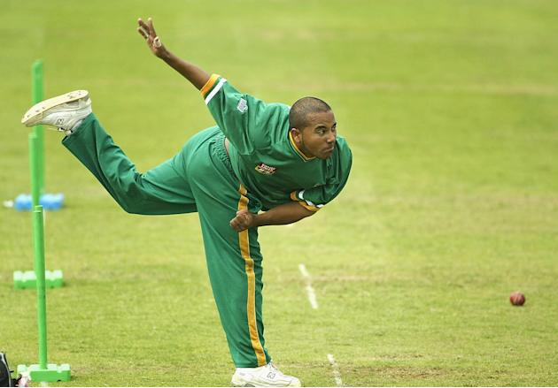Paul Adams of South Africa practises bowling