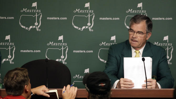 Chairman of Augusta National Golf Club Billy Payne listens to a question during a news conference before the Masters golf tournament Wednesday, April 4, 2012, in Augusta, Ga. (AP Photo/Matt Slocum)
