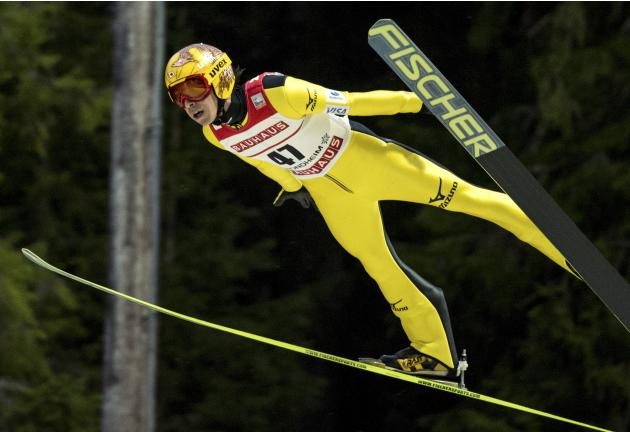 Kasai soars through the air to finish third in the FIS World Cup skijumping event in Trondheim