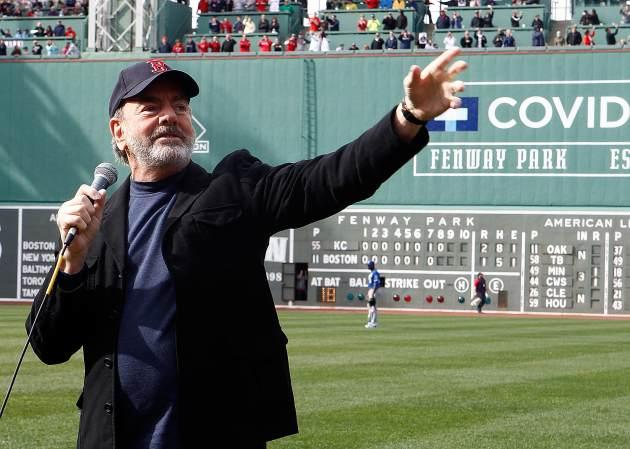Neil Diamond sings 'Sweet Caroline' during a game between the Kansas City Royals and Boston Red Sox in the 8th inning at Fenway Park in Boston on April 20, 2013 -- Getty Images