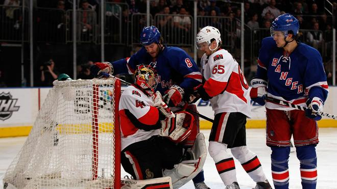 Craig Anderson #41 Of The Ottawa Senators Makes A Save Against Brandon Prust #8 Of The New York Rangers In Game Five Getty Images