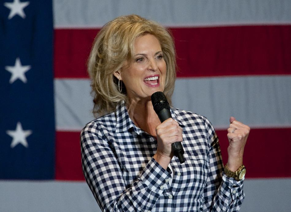 Ann Romney, wife of Republican Presidential candidate Mitt Romney, speaks at the Pinnacle Center in Hudsonville, Mich. on Friday, Oct. 12, 2012. (AP Photo/The Grand Rapids Press, Mlive.com, Cory Morse)