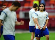 Atletico Madrid's Radamel Falcao trains on May 8, ahead of the UEFA Europa League final football match against Athletic Bilbao. Falcao and his Athletic counterpart Fernando Llorente will be expected to play