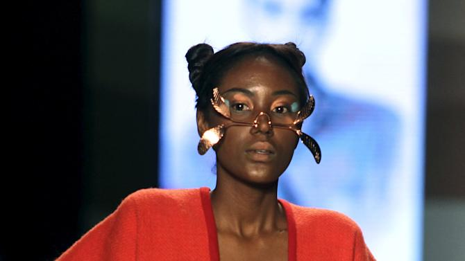 A model presents a creation by student designers during Colombiamoda fashion event in Medellin
