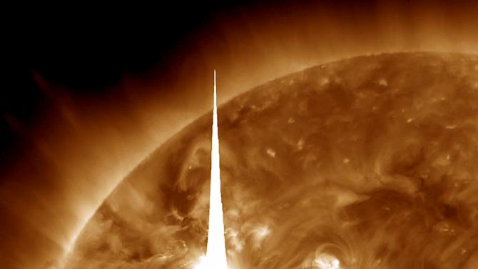 This handout image provided by NASA shows a solar flare errupting at 7 p.m. EDT on Tuesday, March 6, 2012, and that is heading toward Earth. An impressive solar flare is heading toward Earth and could disrupt power grids, GPS and airplane flights. Forecasters at the National Oceanic and Atmospheric Administration's (NOAA) Space Weather Prediction Center said the sun erupted Tuesday evening and the effects should start smacking Earth late Wednesday night, close to midnight EST. They say it is the biggest in five years and growing. (AP Photo/NASA)