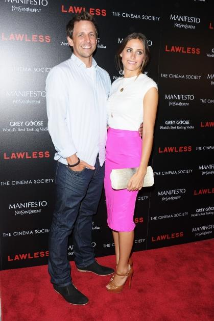 Seth Meyers and Alexi Ashe attend The Cinema Society & Manifesto Yves Saint Laurent screening of The Weinstein Company's 'Lawless' at The Paley Center for Media, New York City, on August 13, 2012 -- Getty Images