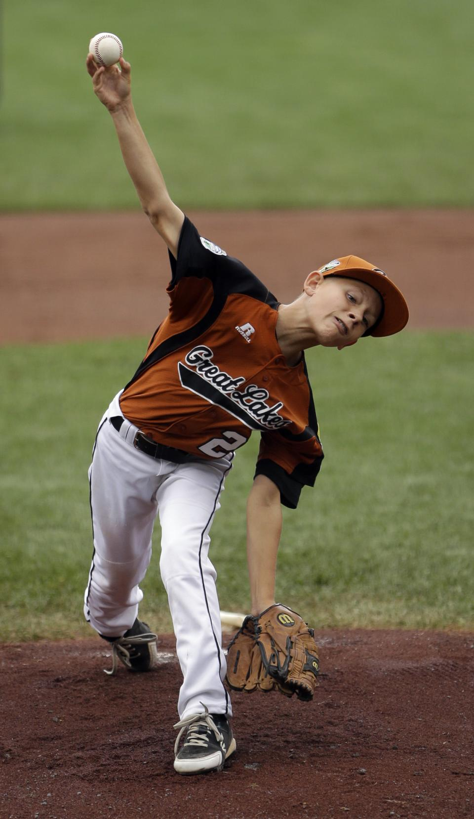 New Castle, Ind.'s Bryce Huntley pitches in the first inning of a pool play baseball game against San Antonio, Texas at the Little League World Series, Sunday, Aug. 19, 2012, in South Williamsport, Pa. Texas won 13-3. (AP Photo/Matt Slocum)