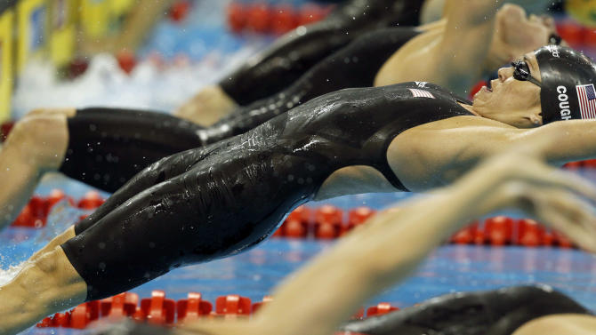U.S. Natalie Coughlin dives to start her leg in the women's 4x100Medley Relay final at the FINA 2011 Swimming World Championships in Shanghai, China, Saturday, July 30, 2011. The U.S. team clinched the gold medal. (AP Photo/Wong Maye-E)