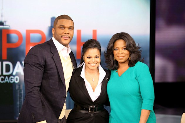 "Tyler Perry and Janet Jackson with Oprah on ""The Oprah Winfrey Show."""