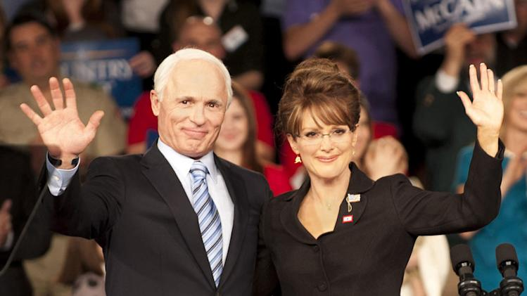 "Ed Harris as John McCain and Julianne Moore as Sarah Palin in ""Game Change."""