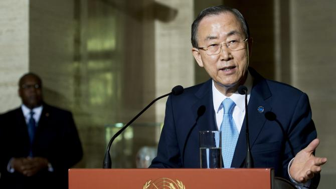 United Nations Secretary-General Ban Ki-moon, speaks during a news conference after the opening session of the Economic and Social Council, ECOSOC, at the European headquarters of the United Nations in Geneva, Switzerland, Monday, July 1, 2013. The world's nations will have to pick up the pace to meet some of their key anti-poverty targets set for 2015, Ban Ki-moon said t the outset of a month-long session of the organization's main economic arm. (AP Photo/Keystone, Jean-Christophe Bott)