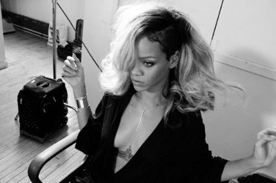 Behind The Scenes Image From The Rogue by Rihanna Campaign Shoot.