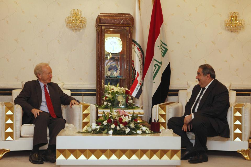 U. S. Sen. Joe Lieberman, left, meets with Iraqi Foreign Minister Hoshyar Zebari, right, in Baghdad, Iraq, Tuesday, Sept. 4, 2012. (AP Photo/Karim Kadim)