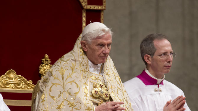 Pope Benedict XVI presides a New Year's Eve vespers service in St. Peter's Basilica at the Vatican, Monday, Dec. 31, 2012. Pope Benedict XVI has marked the end of a difficult year by saying that despite all the death and injustice in the world, goodness prevails. (AP Photo/Andrew Medichini)