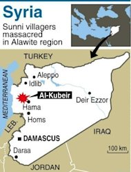 Map of Syria locating Al-Kubeir. The Syrian Observatory for Human Rights said at least 55 people were killed in Wednesday&#39;s assault on Al-Kubeir, a small Sunni farming enclave surrounded by Alawite villages in the central province of Hama