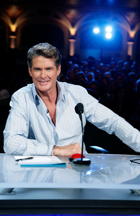 David Hasselhoff judges the contestants on America's Got Talent.