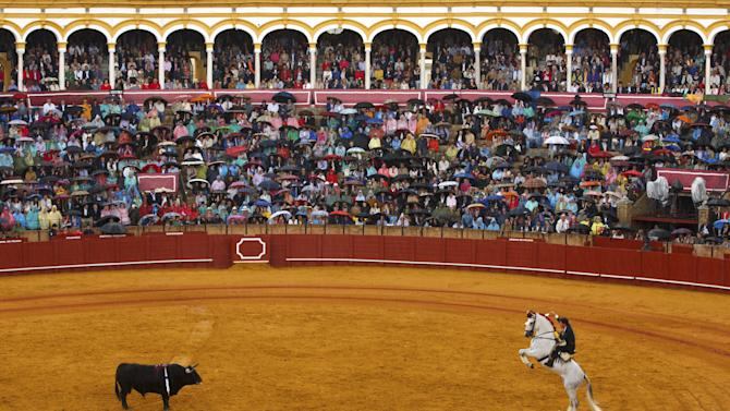 Spanish rejoneador (mounted bullfighter) Leonardo Hernandez performs during a bullfight at The Maestranza bullring in the Andalusian capital of Seville