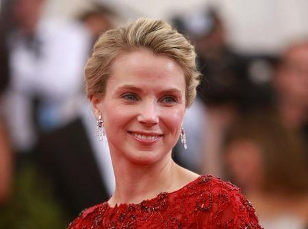 """Marissa Ann Mayer, president and CEO of Yahoo!, arrives for the Metropolitan Museum of Art Costume Institute Gala 2015 celebrating the opening of """"China: Through the Looking Glass,"""" in Manhattan"""