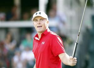 Spieth of U.S. reacts after missing a birdie on the 18th green during the final round of the Tour Championship golf tournament at East Lake Golf Club in Atlanta