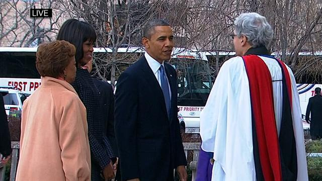Obamas attend church service before inauguration