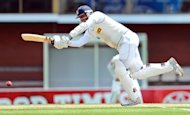 Sri Lanka's Angelo Mathews bats on the third day of the first Test in Hobart on December 16, 2012. Mathews and Tillakaratne Dilshan shared in a record partnership as they frustrated Australia's bowlers in the first Hobart Test on Sunday