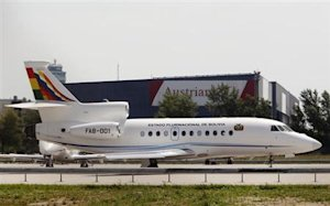 Bolivian presidential plane taxis to the runway before leaving the Vienna International Airport in Schwechat