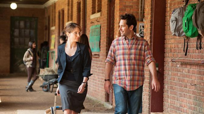 """This film image released by Focus Features shows Tina Fey, left, and Paul Rudd in a scene from """"Admission."""" (AP Photo/Focus Features, David Lee)"""