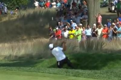 Phil Mickelson tried his backwards flop shot in actual competition